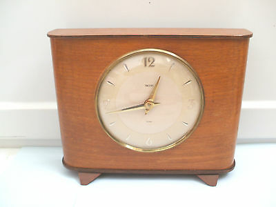 "Smiths Walnut Case Winding Movement Money Box Mantel Clock 7.5""H 9""W 3""D"