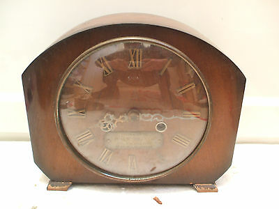 "Smiths Mahogany Case Striking Mantle Clock With Brass Presentation Plaque 7.5""H"