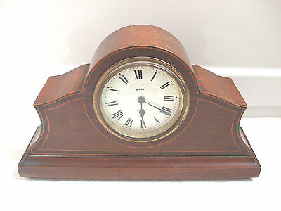 "Seikosha Rare Japanese Mahogany Inlaid Case 8 Day Timepiece Mantle Clock 11""W"