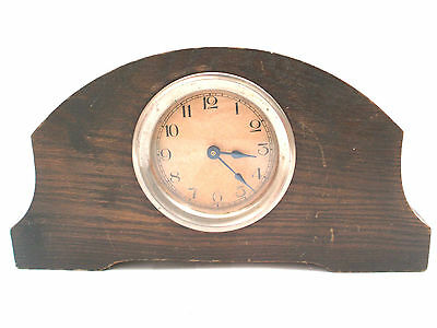 "Oak Case Winding Movement Timepiece Mantle Clock 5.5""H 10""W 2""D"