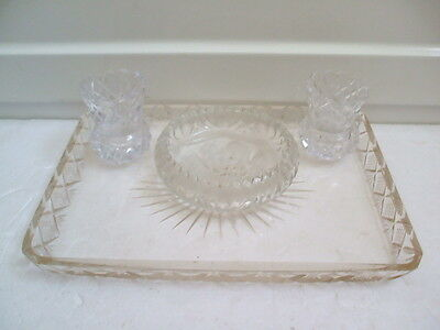 """Ornate Glass Tray 10.5""""L 8""""W With Glass Dish 4.5""""D & 2 Pots 2.75""""H"""