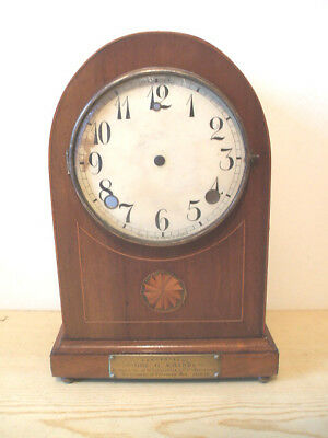 "Mahogany Inlaid Mantle Clock Case Spares/Repair 12""H"