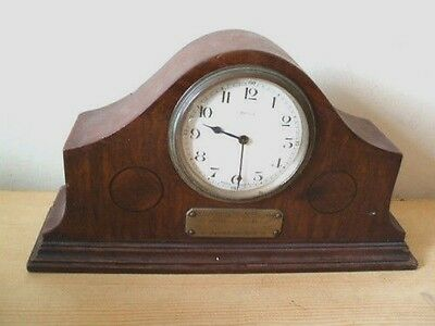 "Mahogany Inlaid Case Timepiece Mantle Clock GWO 12""W"