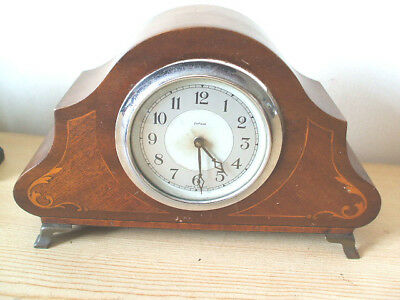 "Mahogany Inlaid Case Mantle Clock Spares/Repair 9""W"