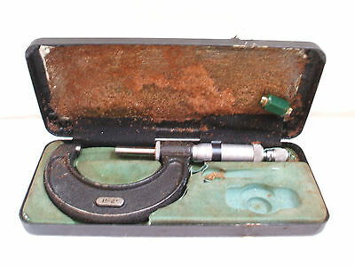 "M&W 1""-2"" Micrometer for accurate measuring Repairing Clocks In Case 7.25""L"