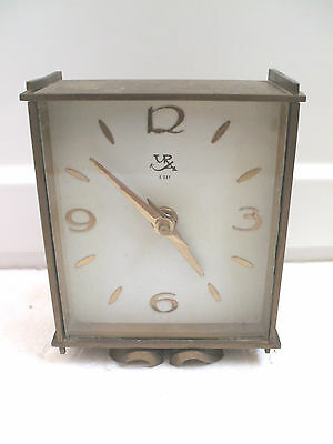 "Kienzle German Winding Movement Brass Case Mantel Clock 5.5""H 4.5""W c1900s"