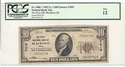 1929 $10 Type 1 The First National Bank of Blackfoot, ID PCGS 12 Fine F#: 1801-1
