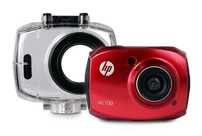 HP AC100 Action Cam 1080P, 2.4in LCD Camera with WaterproofCase - Red - B