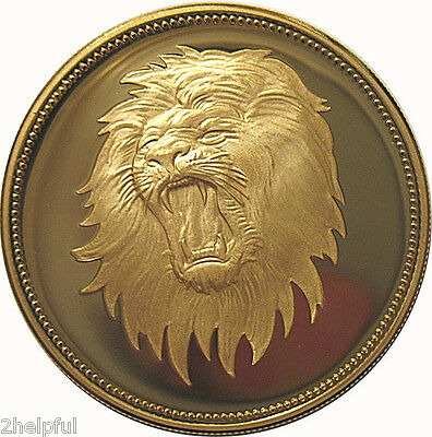 Yemen Roaring Lion Head Cat 1969 2 Riyals GIANT GOLD Coin ==ONLY 100 minted!==