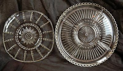 Lot of 2 Patterned Clear Glass Serving Plates Platters 3 Chambers &  Hand Molded