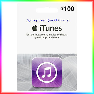 """$100 Australian iTunes Gift Card for Music,Movies,Books,Apps """"Get it Quick"""""""