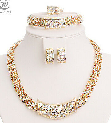 Wedding Gold Crystal Necklace Set Party Women Fashion Bridal Jewelry Sets
