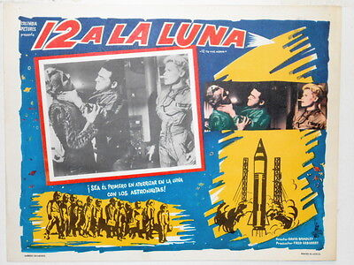 12 To The Moon Lobby Card Poster Sci Fi Hostile Aliens Encounter Rockets 1960