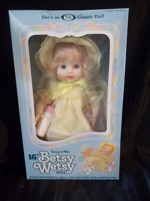 "Ideal 1983 Vintage 16"" Drink & Wet Betsy Wetsy Doll Nrfb Classic Ideal New Doll"