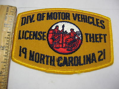 OLD NORTH CAROLINA DMV DIVISION MOTOR VEHICLES LICENSE THEFT POLICE RARE PATCH