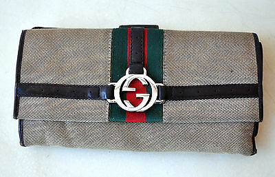 GUCCI Rare Vintage Canvas & Leather Wallet/Card Holder Italy Authentic Unisex