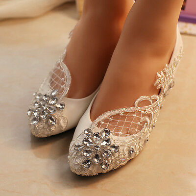 Lace Bridal shoes crystal Wedding shoes prom Flats low high heel pumps size 5-12