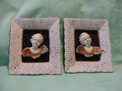 "Vintage Chalkware Angels Pictures 7"" high by 8"" wide"