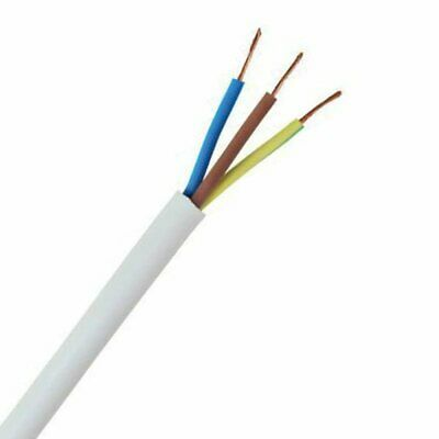 White 1.5mm 3 Core 3183Y Round Flexible Cable - Lighting, Power, Sockets