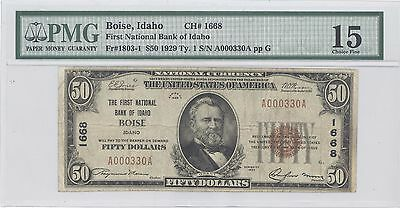 1929 $50 Type 1 The First National Bank of Idaho, Boise ID PMG 15 CHF F#: 1803-1