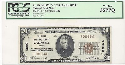 1929 $20 Type 1 First National Bank of Caldwell ID PCGS 35 PPQ Very Fine F1802-1