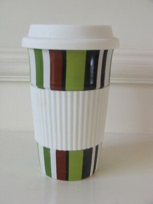 American Atelier Coffee Drink Cup Travel Mug Ceramic with Rubber Lid & Hand Grip