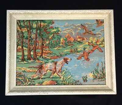 NEEDLEPOINT COMPLETED WOOL Picture Wall Hanging Tapestry Home Decor Hunt Scene L