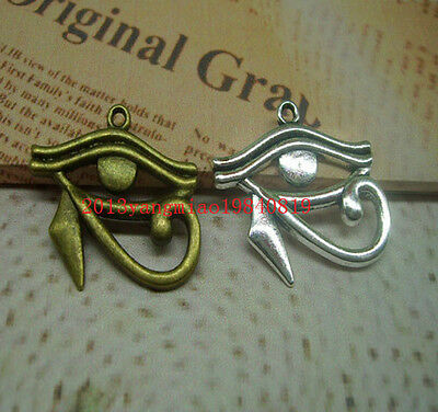 6/20pcs Bronze/silver Egyptian Eye of Horus / Ra Amulet Pendant Chain Necklace