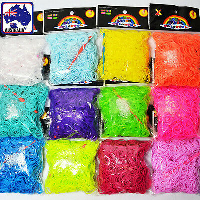 600PCS Candy Rainbow Rubber Bands Craft Kit Bracelet Ring with Clips Hook TSBAN