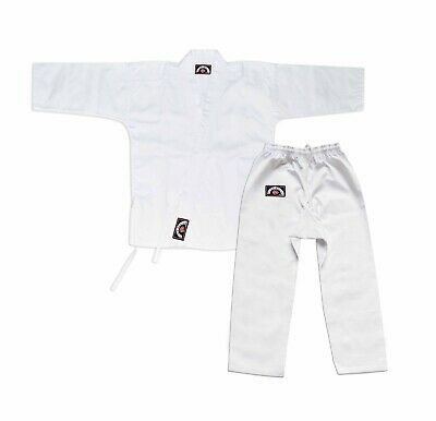 Medium Student Karate 8 oz Poly Cotton Traditional Uniform With White Belt