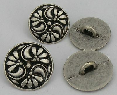 10 Metal Buttons Costume buttons 15mm antiqued silver 07.21b