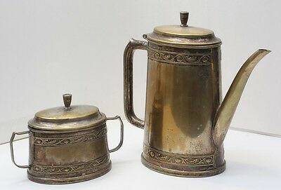 1900-1940 National Silver Co. Silverplate Art Deco Coffee Pot and Sugar Bowl