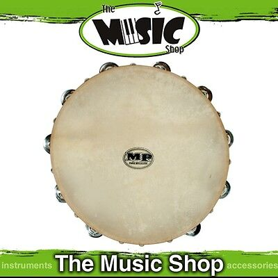 """New Mano Percussion 12"""" Wooden Tambourine with Natural Skin Head - ED614"""