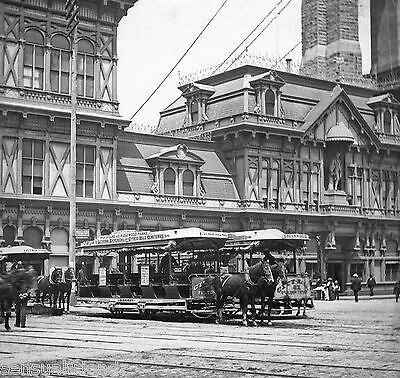 Vintage Old New York City Horse Street Cars photo Fulton St Putnum Ave 1880s-90s