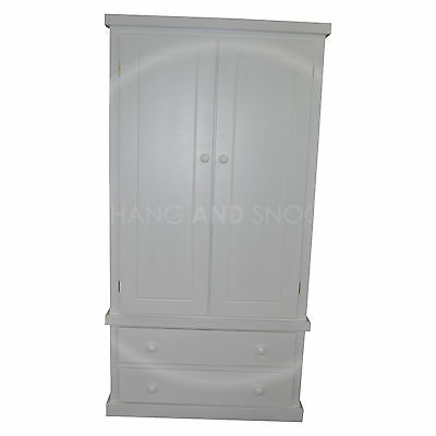 Handmade Dewsbury Junior 2 Drawer Wardrobe White - Box Doors (Assembled)
