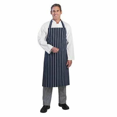 Whites Chefs Apparel Butchers Stripe Apron Navy Chef Kitchen Catering Cooking