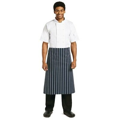 Whites Chefs Apparel Butchers Stripe Waist Apron Navy Kitchen Catering Cooking