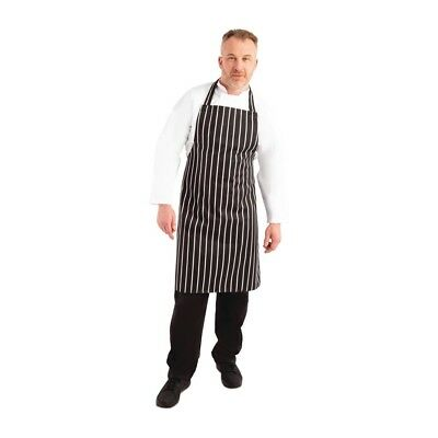 Whites Chefs Apparel Unisex Butchers Stripe Apron Black Kitchen Catering Cooking