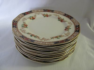 Booths 12 bread butter plates Silicon China England Old Time Imari style 1920's