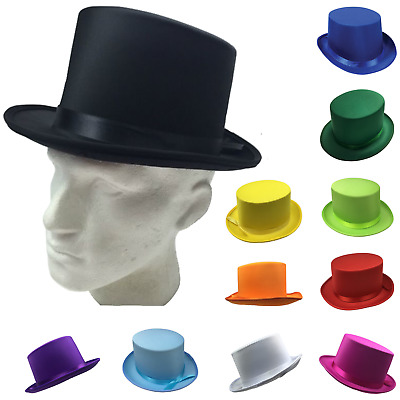 SATIN TOP HAT Costume Party Cap Fancy Dress Trilby Fedora One Size New