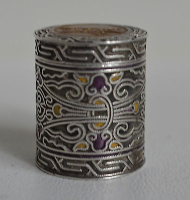 19th Chinese Antique Sterling Silver Snuff Box / Pill Box  Stamped Great Gift