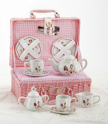 Delton Children's Porcelain Tea Set for 2 in Wicker Basket PRINCESS
