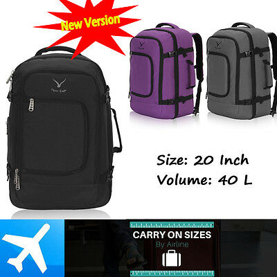 Flight Backpack Business Cabin Duffle Bag Luggage Suitcase Laptop Day Pack Black