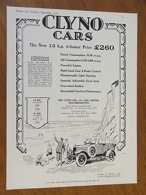1926 Clyno Cars 13hp 4 Seater original UK full page advertisement