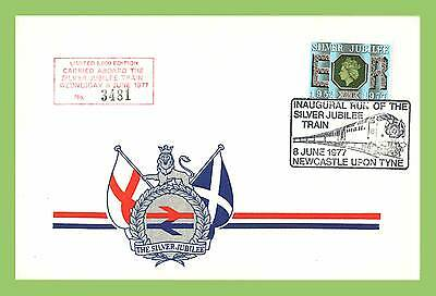 GB 1977 Silver Jubilee Train Commem Cover Inaugural Run h/s Carried on Board