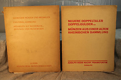LOT of 2 RARE ANTIQUE OLD GERMAN  COIN MEDAL AUCTION CATALOG ADOLPH HESS NACH