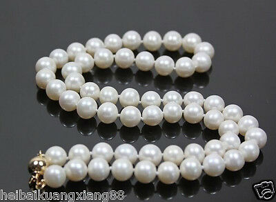 Stunning!14K Gold Clasp 8-9mm White Akoya Cultured Round Pearl Necklace 18""