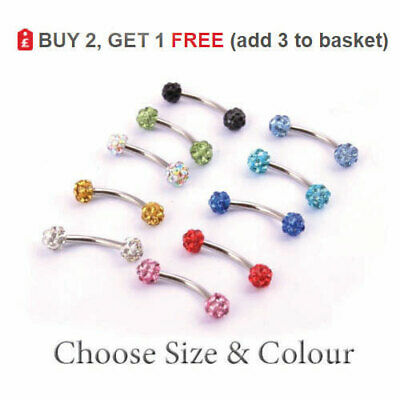 Ferido Curved Barbell Shamballa Eyebrow Banana Bar Multi Crystal Ball 16G Colour
