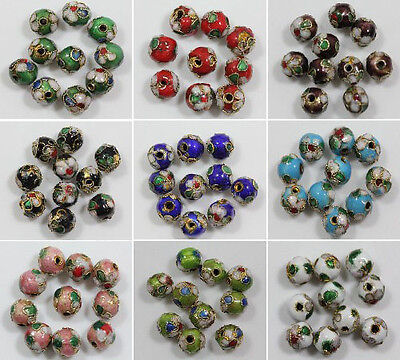 Wholesale 70Pcs Beautiful Cloisonne Enamel Round Spacer Beads 6mm 8mm U Pink