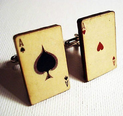 Cufflinks, Cuff Links, Groom, Ace of spades & hearts playing cards poker